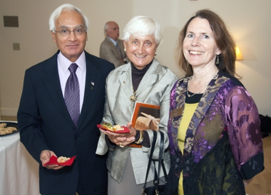 This photo shows Mr. and Mrs. Kalsi with former Bach Festival Development Manager Virginia Wright at a Green Room Reception.