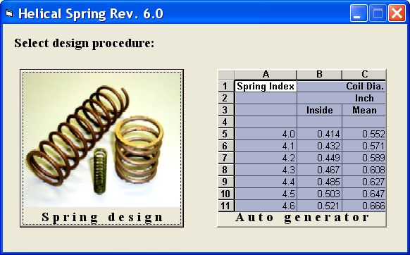 "Our Helical Spring software is used to design round wire helical compression springs. The software consists of two modules. The ""Auto Generator"" module generates a series of spring geometries covering an index of 4 to 16 that are based on a user-defined solid load and stress. The user can then refine the most appropriate diameter spring using the ""Spring Design"" module, which presents results in an editable format."