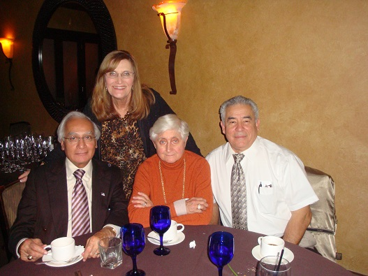 Carla celebrating her twentieth year at Kalsi Engineering in 2013, with the company founders Manmohan and Marie-Luise Schubert Kalsi, and Vice President Daniel Alvarez.