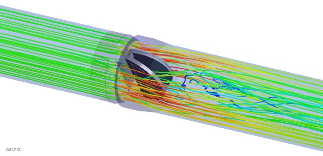The velocity streamlines for a 24-inch double-disc check valve illustrate the flow field predicted using the k-e RNG turbulence model. The CFD model was used to calculate the flow-induced torque based on the check valve disc position and flow rate, as well as the oscillation in pressure force due to flow-induced disturbances of the upstream pump. These CFD results were obtained using Kalsi Engineering's new SGI ALTIX computer, which has 8 64-bit Itanium processor and 32 Gbytes of RAM.