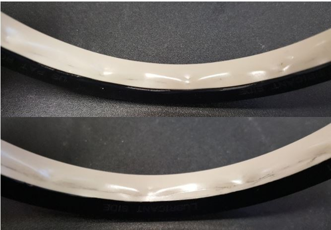 The used seals from our 9,800 psi test are in excellent condition. The combination of the hydrodynamically lubricated plastic seal material and the metal backup ring easily met application pressure and duration requirements while rotating at 28 feet/minute.