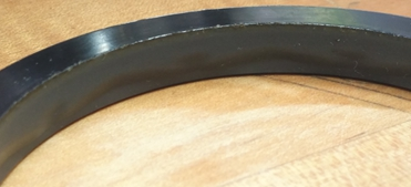 """This is the upper rotary seal from our 1,000 hour, 7,500 psi test. The used seal is still in excellent condition. The surface speed was equivalent to a 4.875"""" (123.83mm) OD washpipe rotating at 200 RPM"""