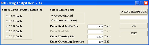 "Our O-Ring Analyst software generates ""standard"" static O-Ring gland dimensions, and presents them in an editable format so the user can optimize them for function, manufacturability, ease of assembly, etc. Compression results take into account cross-sectional reduction due to installation stretch. Compression and extrusion gap results are given for nominal and worst case sizes, and for concentric and eccentric conditions. Nominal running friction is also estimated."
