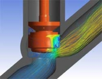 CFD predictions show the pressure contours on the plug and streamlines through a Y-Pattern Globe Valve