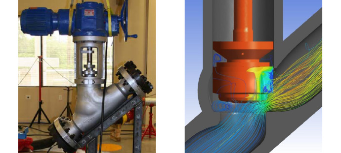 Figure 1: Kalsi Engineering instrumented a Y-pattern globe valve (a) to measure stem thrust required to operate the valve while subjected to steam flow under blowdown conditions.  The test specimen dimensions were used to develop a 3D model and perform CFD predictions.  The pressure contours on the plug and streamlines in the valve are shown in (b).