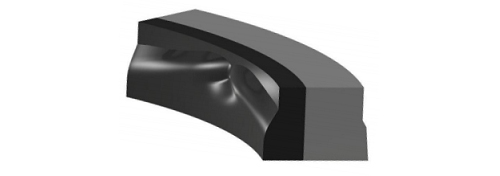 This is an example of a Kalsi Seal constructed entirely from elastomeric seal materials. The inner lip is constructed from a harder elastomer to improve high pressure sealing capability, and incorporates hydrodynamic waves that pump a film of lubricant into the dynamic sealing interface during rotation.