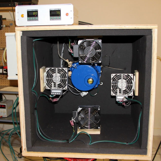 Figure 1: The motor-operator (blue component) is located inside an environment chamber. Four fans and heating elements are located around the actuator to promote air circulation and maintain even temperature distribution.