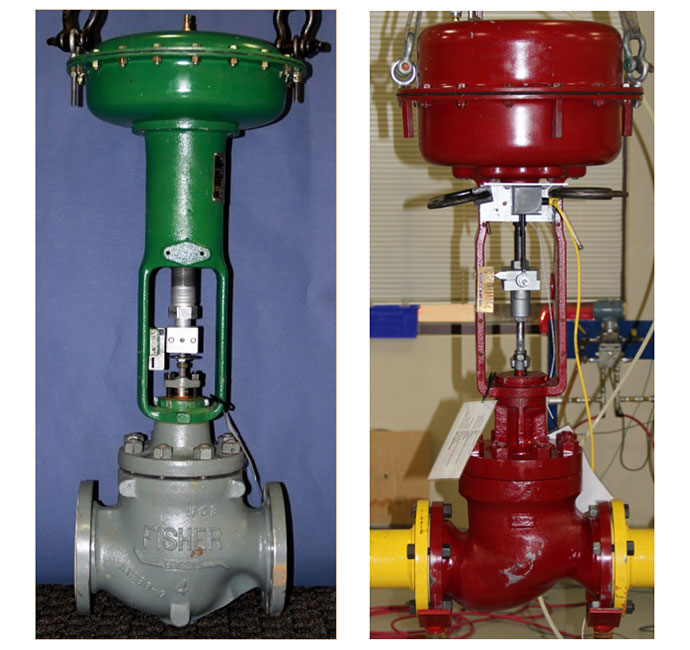Figure 1: Two pressure balance globe valve Test specimens used in the flow loop testing. The specimens were configured with different cages to determine the effect of the trim characteristics on required forces to operate the valve.