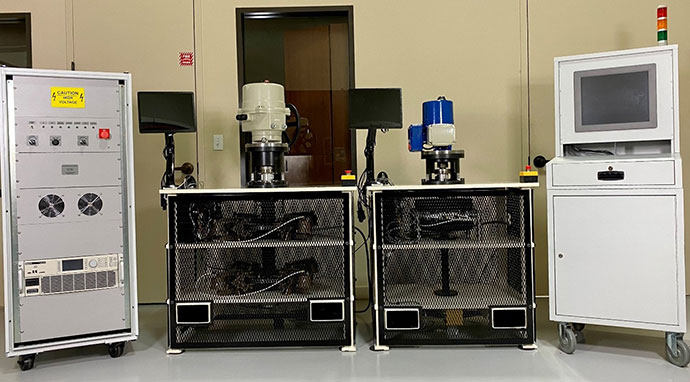 Figure 1 KEI Designed two torque benches, a control cabinet, and a power cabinet for use in a new-build production cell. The test stands are used to verify actuator function and capacity.